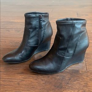 Faux Leather Wedge Booties